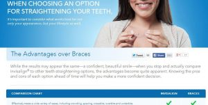 """This is a screenshot directly from Invisalign.com. To the average user, it seems to suggest that there are only advantages and no disadvantages to Invisalign.  Our take: the use of the word """"may"""" in """"results may appear the same"""" is the biggest word in this sentence.  Ask yourself why orthodontists don't just give up using traditional braces."""